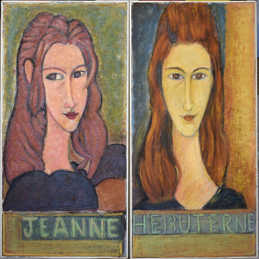 2 portraits of Jean inspired by Modigliani's portraits