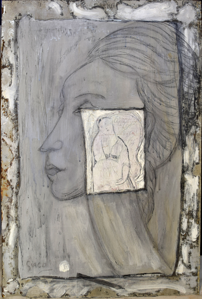 Mixed media drawing on tin inspired by Modigliani