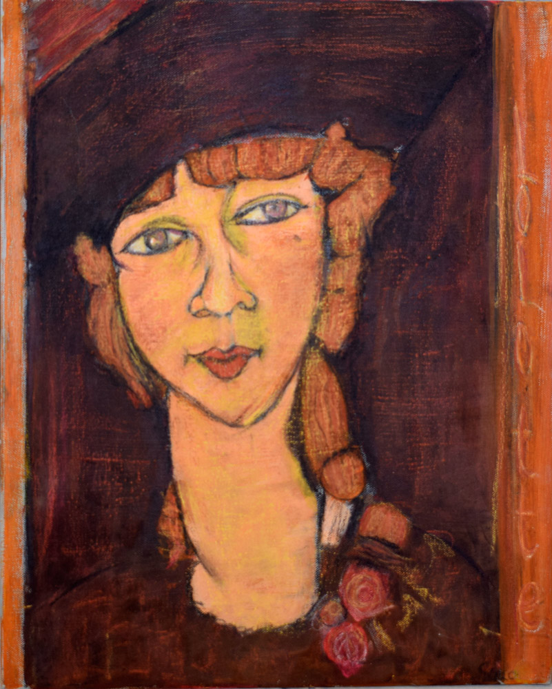 "Artwork inspired by Modigliani's painting titled ""Lolotte"""