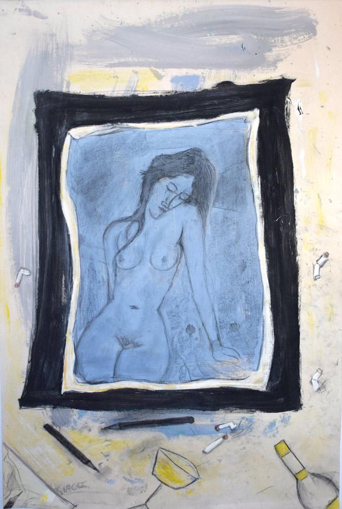 Modigliani style drawing of a nude figure