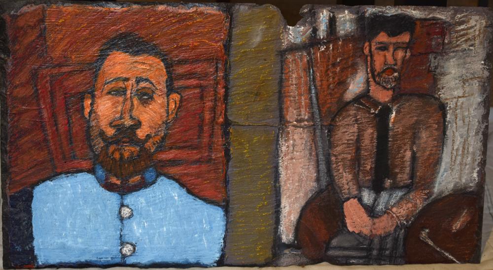 Modigliani pastiche on slate