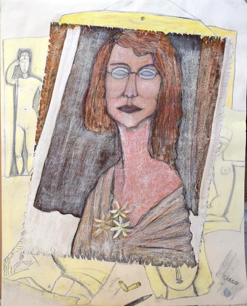 modigliani's secreatary , drawing on paper