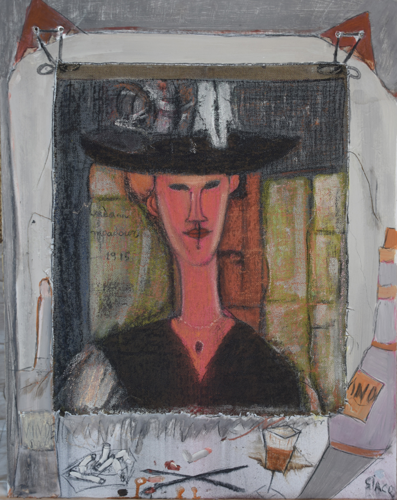 portrait painting inspired by Modigliani's work of the same name