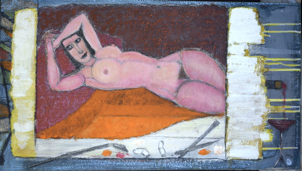 reclining nude on slate inspired by Modigliani