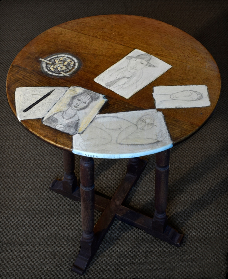 Table decorated with drawings inspired by the Artworks of Modigliani