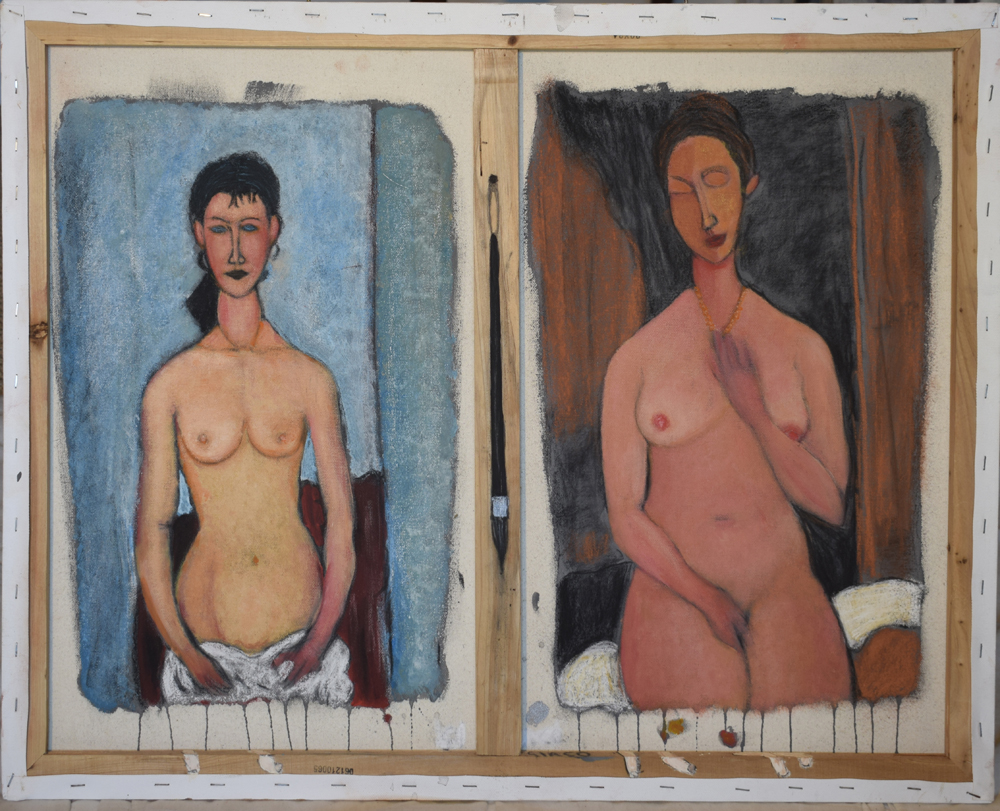 two nudes inpired by modigliani's work
